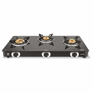 Vidiem GS G3 200 A Satin 3 Burner Glass Gas Stove (Black)