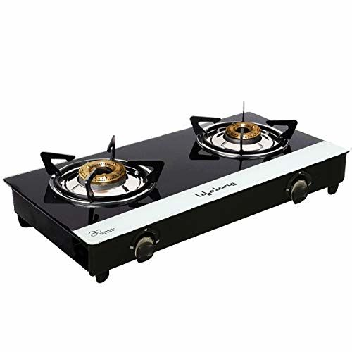 Lifelong Glass Top 2 Burner Gas Stove (Black and White) ISI Certified