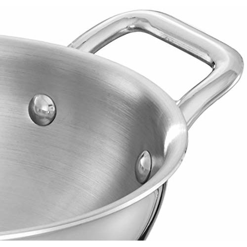 Amazon Brand - Solimo Tri-ply Stainless Steel Induction Base Kadhai with Steel lid (22cm, 2L)