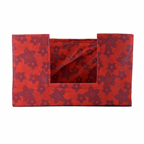 Kuber Industries Metalic Flower Large Capacity Space Saver Closet, Stackable and Foldable Saree, Clothes Storage Bag, Non-Woven Rectangle Cloth Saree Stacker