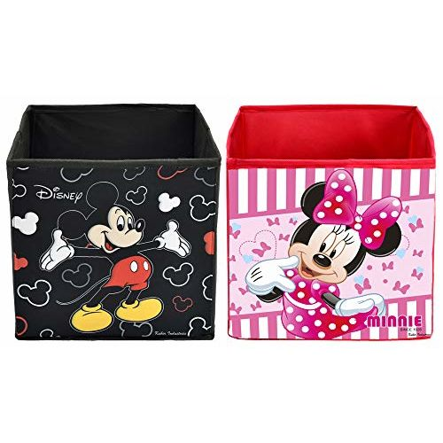 Kuber Industries Disney Print Non Woven Fabric 2 Pieces Foldable Large Size Cloth Storage Box Toy, Books Wardrobe Organiser Cube with Handle (Black & Pink)