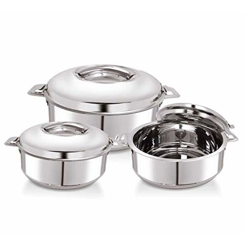 WARMEO Steam Stainless Steel Casserole, Set of 3, 1000 ml, 1500 ml, 2500 ml, Silver