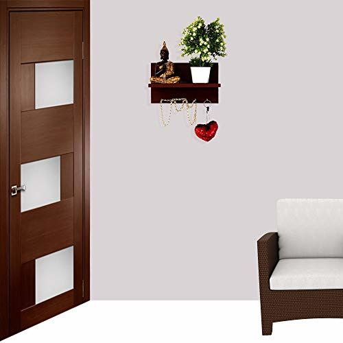 Furniture Cafe Wall Mounted Key Holder for Wall/Home Decor/Office Decor - (Matte Finish, Mahogany)