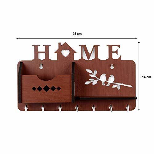 Sehaz Artworks Home Side Shelf Brown KeyHolder Wooden Key Holder (7 Hooks)