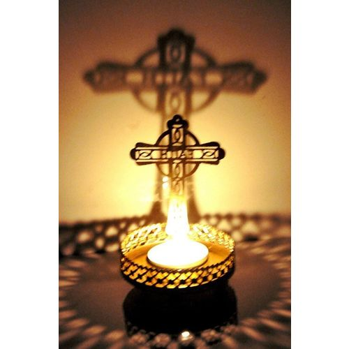 Heaven Decor Traditional Tea Light Candle Holder/Metal Candle Light Holder Set/Designer Votive Candle Holder Stand/Table Decorative Candle Holders, Cross Shadow