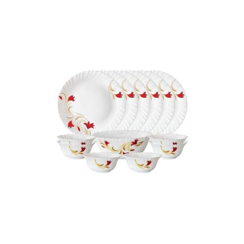 Larah by Borosil Red Lily 13 Piece Opalware Dinner Set