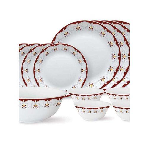 Larah by Borosil Tiara Series Royal Brown 13 Piece Opalware Dinner Set