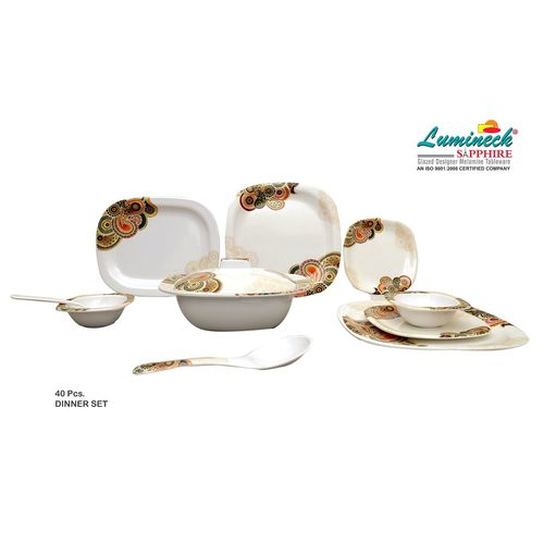 FAHAD KHAN STORE Sapphire Melamine Dinner Set of 40 Pieces with Traditional Prints