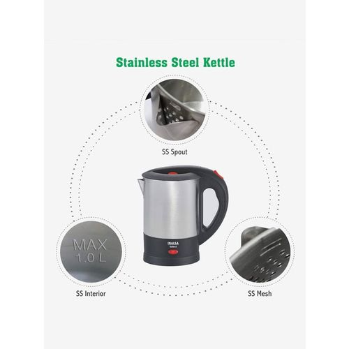 Inalsa Select 1L 1350W Electric Kettle (Silver)
