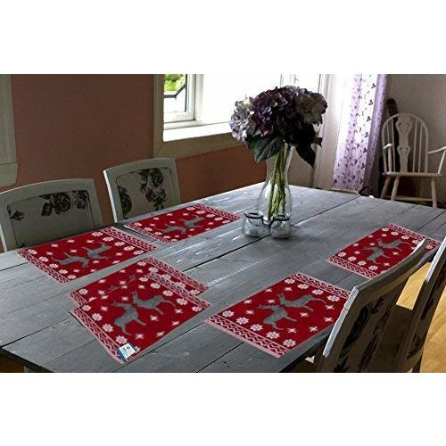 Samaaya 6 Table Mats with 1 Table Runner | Beautiful, Easy to Wash, Jacquard Linen Fabric Dinning Table Mats (13 x 18) with Runner (13 x 54), Red (Set of 7 Pieces)