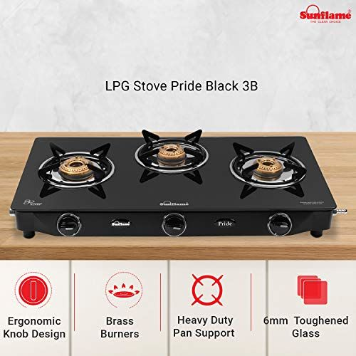 Sunflame GT Pride Glass Top 2 Brass Burner Gas Stove (Manual Ignition, Black) and GT Pride Glass Top 3 Brass Burner Gas Stove (Manual Ignition, Black)