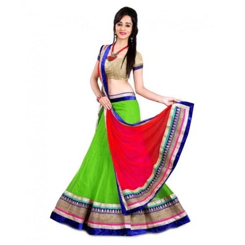 Parrot Green & Red Solid Net Wedding Chaniya Choli