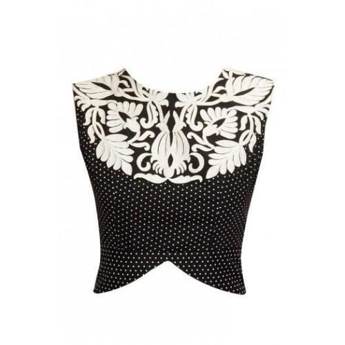 Black and White Embroidered Peplum Blouse Designed by Niki Mahajan