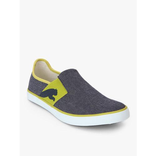 Puma Unisex Navy Blue & Green Lazy Slip-On Sneakers