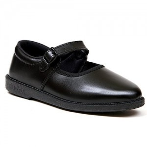 Liberty Black Leather Solid School Shoes