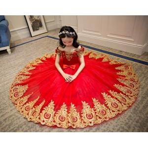 Yuanlu Elegant Design Red Embroidered Flared Dress