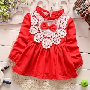 Aww Hunnie!! Red Lace Patchwork Baby Girls Dress