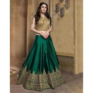 Green Bhagalpuri Silk Embroidered Lehenga