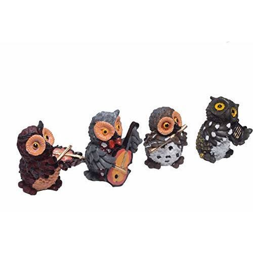 Vaani Set of 4 Owls Playing Musical Instruments Showpiece Figurines Garden Statues Decoration Items for Home Outdoor Decorations (Multicolor)