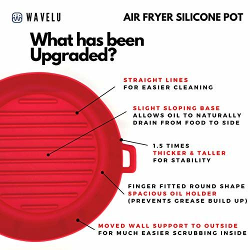 WaveLu Air Fryer Silicone Pot - [UPGRADED] Food Safe Air fryers Oven Accessories   Replacement of Flammable Parchment Liner Paper   No More Harsh Cleaning