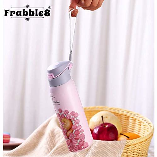 Frabble8 Double Wall 480ml Vacuum Insulated Stainless Steel Flask Water Bottle    Travel Thermos Sipper with Pop up Straw    Hot and Cold for 12 Hours (Sober Beige)
