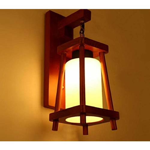 Lyse Decor BrightLyts Wooden Decorative Surface Mounted Classic Wall Lamp/Wall Light/Light/Sconce for Home Decor (Medium, Brown)