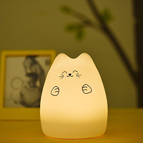 GoLine Cute Kitty LED Children Tap Control, Silicone Fortune Cat Breathing Dual Light Modes Night Light Lamp, Multicolour Warm White and 7-Color, 12-hour