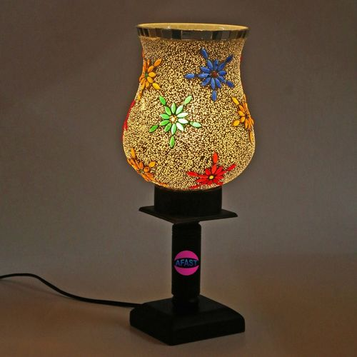 Afast Designer Decorative Wooden Table Lamp With Hand Decorative Glass Shade For Colorful Magical Lighting Effect-BT24 Table Lamp(25 cm, Multicolor)