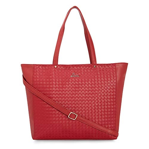 Lavie Red Leather Texture Tote Bag