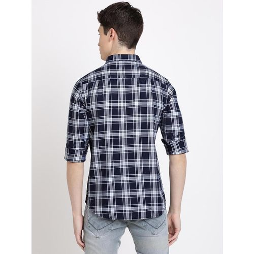 TED HARBOR navy blue checkered casual shirt