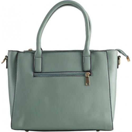 Legal Bribe Grey Polyurethane Textured Zipper Handbag