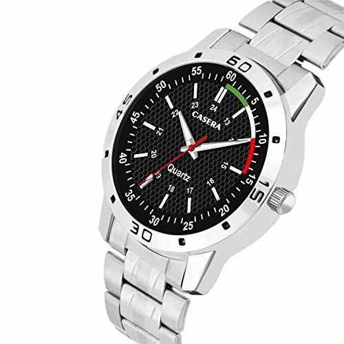 Casera Black Dial Analog Stainless Steel Strap Watch for Men