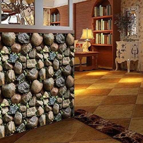 Wolpin Wall Stickers Wallpaper Decals Self Adhesive (45 x 500 cm) 3D Stone DIY, Multicolour