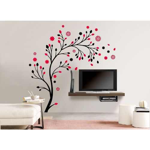 EJA Art Combo of 4 Vinyl Wall Sticker Lord Krishna Flute Playing With Cow Love Birds With Hearts Magical Tree Makhanchor
