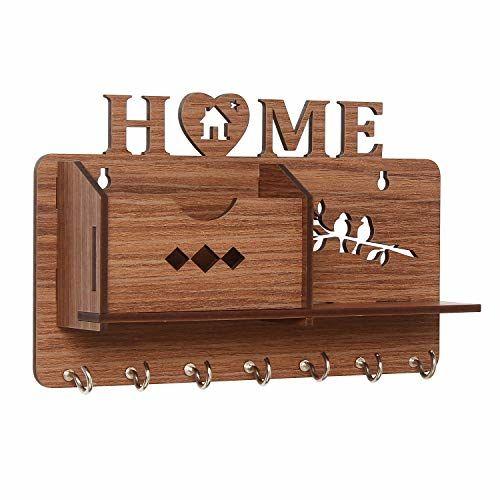 Webelkart Home Side Shelf-Brown Wall Shelves Wooden Shelf, Keyholder