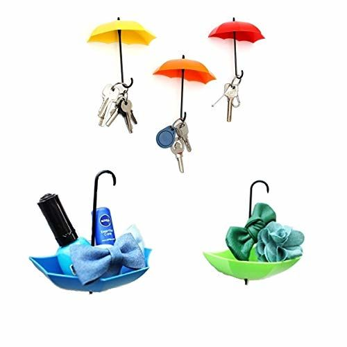SWAB Umbrella Key Hat Wall Multipurpose Holder Hanger Hooks (Multicolour)- 06 Pieces