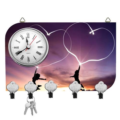 Kartik Fancy Couple Print Wall Mounted Multi Color Matte Finish Key Holder with Clock - 14 x 21 x 0.5 cm