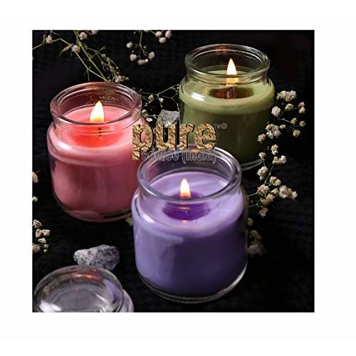 Pure Source India Wax Jar Candle, Pack of 3, Rose;Jasmine;Lavender
