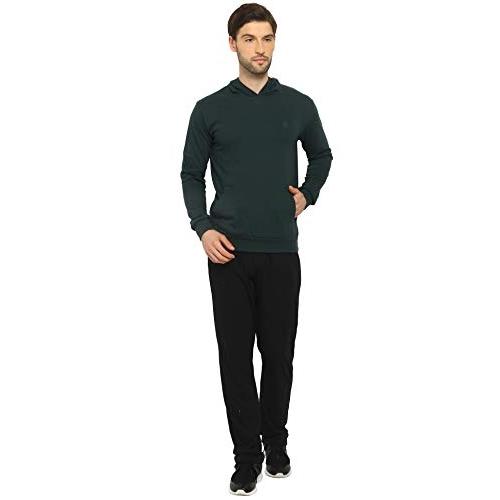 CHKOKKO Green Cotton Solid Full Sleeve Hooded Sweatshirt