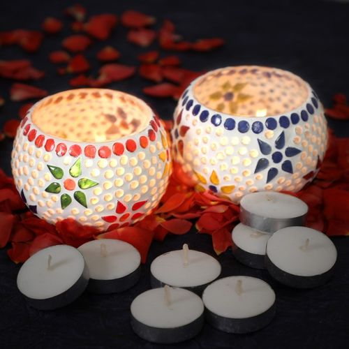 Flipkart SmartBuy Handmade Mosaic Glass Tealight Holder Set(Multicolor, Pack of 2)
