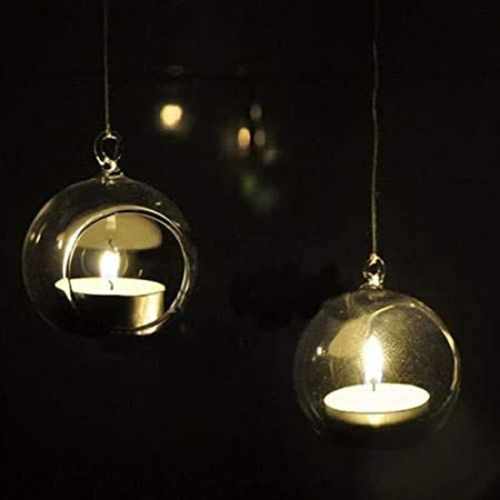 Generic MAGICMOON HANGING PLANTER CRYSTAL GLASS, TEA LIGHT CANDLE HOLDER FOR HOME INDOOR GARDEN - SET OF 1 PIECE, TRANSPARENT