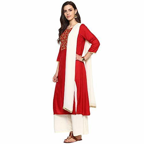 Imara Women's cotton a line Salwar Suit Set (S19SETPKS034_ Red_ X-Large)