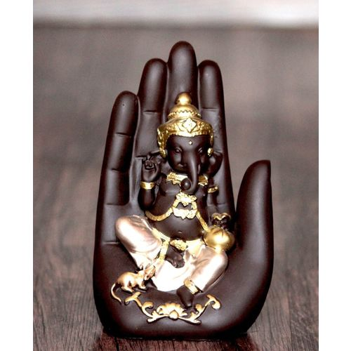 Craft Junction Handcrafted Lord Ganesha On Palm Decorative Decorative Showpiece - 16 cm(Polyresin, Multicolor)