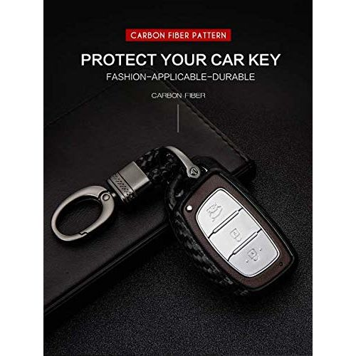 JVCV Car Styling Soft Carbon Fiber Pattern Key Cover Fit only for Push Button Start Hyundai Smart Key with Keychain