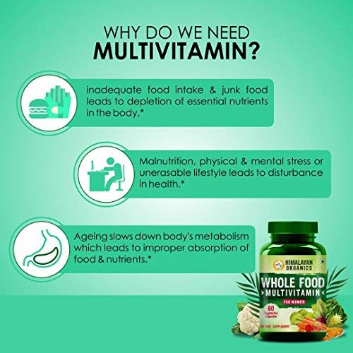 Himalayan Organics Whole Food Multivitamin for Women    with Natural Vitamins, Minerals, Extracts    Best for Energy, Brain, Bone Health    60 Veg Capsules