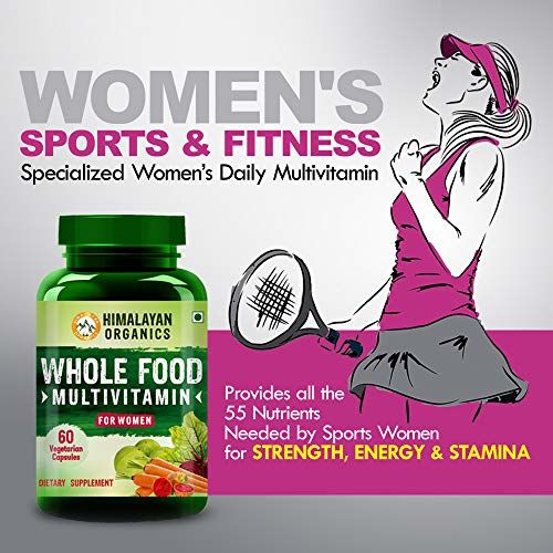 Himalayan Organics Whole Food Multivitamin for Women || with Natural Vitamins, Minerals, Extracts || Best for Energy, Brain, Bone Health || 60 Veg Capsules
