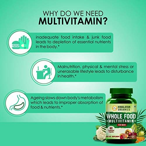 Himalayan Organics Whole Food Multivitamin for Men || with Natural Vitamins, Minerals, Extracts || Best for Energy, Brain, Heart Health & Eye Health || 60 Veg Capsules