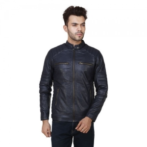 Other Manufacturer Navy Blue PU Leather Full Sleeve Jackets