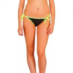 Fashion Comfortz Black Cotton Solid Two Side Tie Bikini