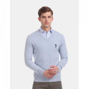 U.S. POLO ASSN. Blue Solid V Neck Casual Sweater